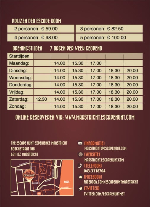 Escape rooms Maastricht - informatie flyer