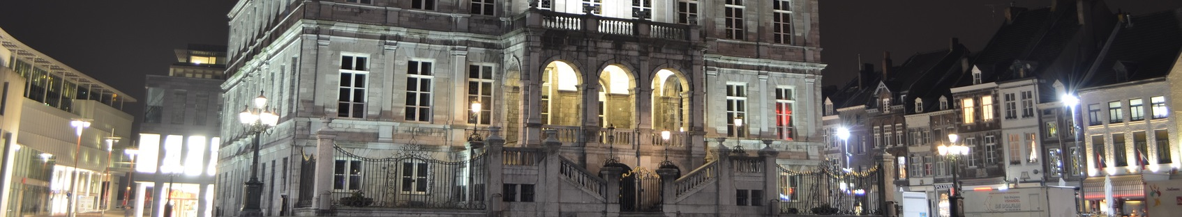 MAASTRICHT, NETHERLANDS, APRIL 12, 2014: Night view over town hall in historical center of Maastricht.