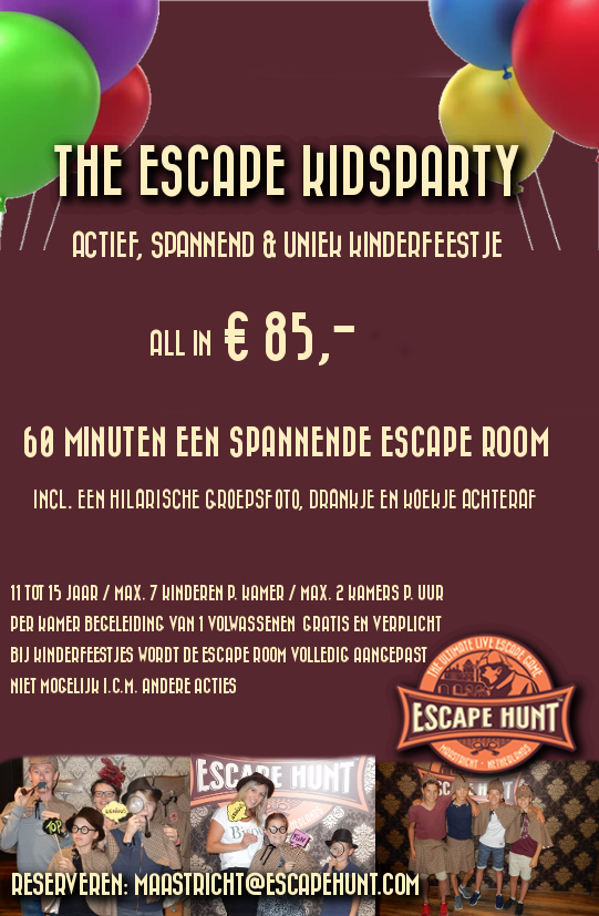 2018 Kinderfeestje Escape Hunt Experience Maastricht